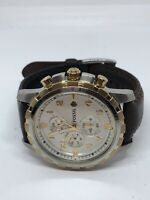 Fossil FS4795 Dean Chronograph Mens Brown Leather Analog Silver Dial Watch Bb241