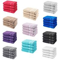 4 Pcs Laura Secrets Plain Bath Sheet Towel Set Absorbent Soft 100% Cotton