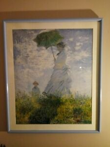 CLAUDE MONET VINTAGE HANDMADE OIL PAINTING ON CANVAS,SIGNED.