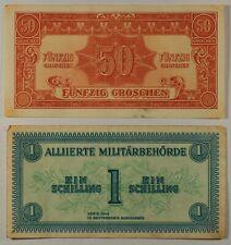 AUSTRIA 1 Shilling & 50 GROSCHEN... 1944...LOT 2 Notes