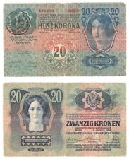 ROMANIA 20 Kronen Banknote (1919) Treasury Provisional issue - Pick ref: R15.