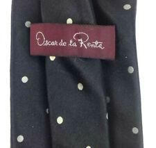 78ef068a87cf Oscar de la Renta Black White Polka Dot Silk Velour Necktie Skinny 3