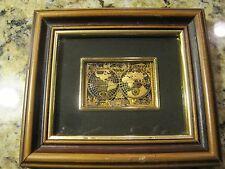 Artesania De Toledo 24K Gold Framed Miniture World Map Picture