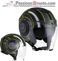 casco Agv Fluid Chicago black amarillo moto Casco jet helm capacete