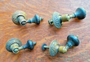 Four Petite Antique Fancy Ebonized Wood Teardrop Cabinet Drawer Pulls c1885