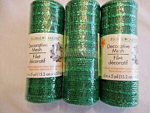 "Floral Garden Deco Mesh 3 Rolls Metallic Emerald  6""X 5YD Wreaths Bows  More NEW"
