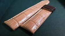 Longines upside alligator leather, light tan, white stitch, padded, 22/20mm