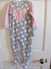 Nwt Girls Carters 3T Soft Blanket Sleeper Gray White Dots & Pink Heart Zip Up