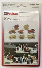 Preiser HO 17103 HAND CARTS KIT w/2 Wheels & 4 Wheels Luggage Farm Vendor MIB