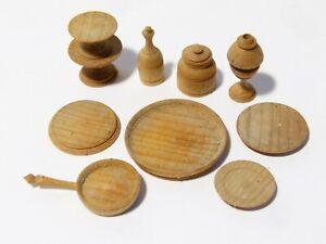 10 Vintage Miniature Lathe Turned Wooden DOLLS HOUSE Items
