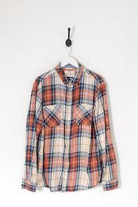 Vintage Checked Shirt Orange & Navy Blue (XL)