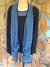 Kaktus Blouse Faux Undershirt Artsy Long Sleeve Blue/Black Sz L NWT$99
