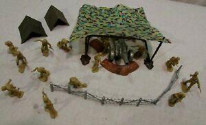 1960's Marx playset WW2 desert patrol camo covered gun site 54mm tan soldiers