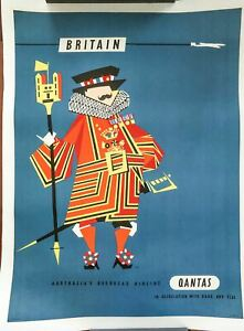1950s Britain Qantas Airline Travel Poster by Harry Rogers Original FULL SIZE