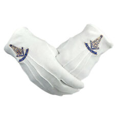 Masonic Past Master Square & Compass Symbol Cotton Fabric Gloves Masons Regalia