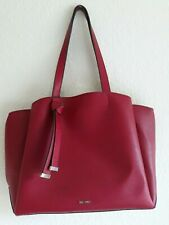 Qlty Nine West Big Red Tote Gold Interior 18x12x5 Faux Leather Super Clean Nice