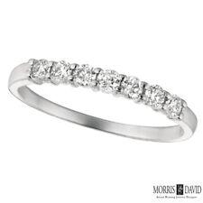 0.34 Carat Natural Diamond 7 Stone Ring Band G SI 14K White Gold