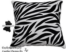 WHITE BLACK LUXURY GENUINE LEATHER CUSHION ANIMAL ZEBRA PRINT DESIGN SEWED ON