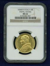 ITALY PAPAL STATES 1836 10 SCUDI GOLD COIN CHOICE MINT STATE, CERTIFIED NGC MS62