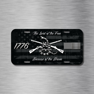 LAND OF FREE & BRAVE 1776 USA US FLAG Patriot Vehicle License Plate Auto Car Tag