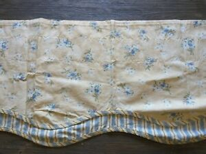 Waverly Window Valances Yellow Blue Fontanelle Layered Set of 2 Scalloped Stripe