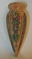 "Made in Japan Vintage Pottery Wall Pocket, Large 9"" Tall, Flowers"
