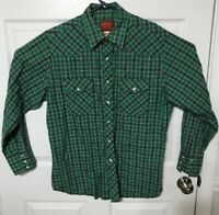 Rustler Mens Large Pearl Snap Button Front Western Shirt X-Long Tails Green
