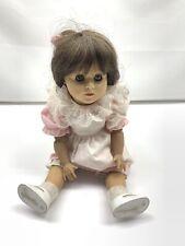 Engel Puppe Doll Brown Sleepy Eyes Brunette Pink Dress Articulated Tlc Ooak