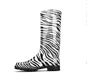 Chemistry Women's Knee-high Jelly Rain Boots Zebra-Striped