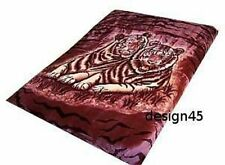Solaron Korean Blanket Mink Plush White Tiger Original Acrylic King Burgundy