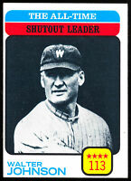 1973 TOPPS BASEBALL THE ALL TIME SHUTOUT LEADER #476 WALTER JOHNSON NM SENATORS