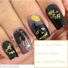 Halloween Nail Art Stickers Nail Water Decals Gold Silver Spiders Web Pumpkins