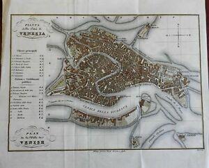 Venice Italy Venezia Italia scarce lovely map 1842 detailed city plan by Artaria