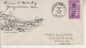 WW2 PATRIOTIC YANKS LAND IN ALGIERS MILLER CACHET YOUNG AMERIICA,MINN 5/5/1943