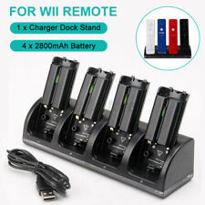 4x Rechargeable Battery Pack + Charger Dock Station For WII Controller Remote