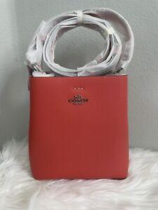Coach 1011 Leather Small Town Bucket Handbag Crossbody Tangerine Taupe Pebbled