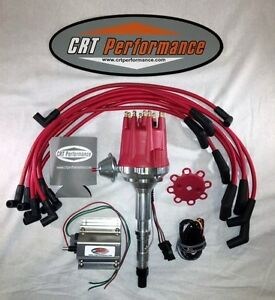 Small Cap AMC JEEP 290,304,343,360,390,401 Red HEI Distributor,COIL & Plug Wires