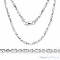 925 Italy Sterling Silver w/ Rhodium 2.3mm Diamond-Cut Bead Link Chain Necklace