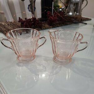 Vintage footed Pink Glass Creamer Jug & Sugar bowl Depression Era floral design
