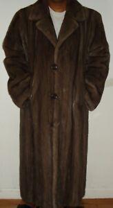 "Men's SAKS FIFTH AVENUE 50"" Long Blue Iris Mink Fur Coat Size 42-44 FREE SHIPPIN"