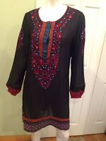 BEAUTIFUL ANITA DONGRE INTER PRET KNIT EMBROIDERED NAVY DRESS SIZE 14