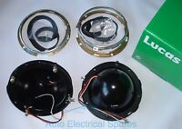 "Lucas PAIR 7"" Headlamp Headlight bowl & retaining rim METAL MGB Mini LAND ROVER"