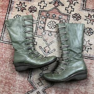 Miz Mooz Green Otis Boots Size 40 Zipper Leather Designer Shoes Wedge Steampunk