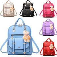 Women Girl PU Leather Shoulder Bag School Backpack Travel Rucksack Purse Fashion