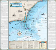 Laminated North Carolina Cape Fear Shipwreck Chart - Nautical Art Print Map
