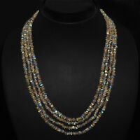 246.80 CTS NATURAL 4 LINE RICH BLUE FLASH LABRADORITE FACETED BEADS NECKLACE