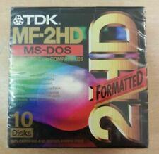 10 Floppy Disk TDK Mf-2hd Ms-dos formattati Dischetti nuovi Scatola SIGILLATA
