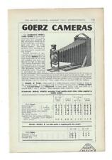 A 1925 Photgraphic/Camera Advertisment - Goerz Cameras .