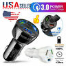 Car Phone Charger 3Ports USB Adapter LED QC 3.0 Fast Charging For Android&iOS aa