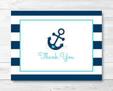 Nautical Blue Anchor Thank You Card Printable